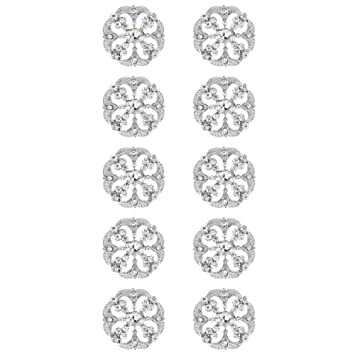 30c2882a0d8 SHINYTIME Pearl Rhinestone Buttons 10 Pieces Sew-On Silver Tone Decorative  Buttons for Bridal Clothing