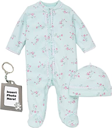 Little Me Footie Baby Girls Footed Sleeper Sleep N Play Hat and Keychain Floral