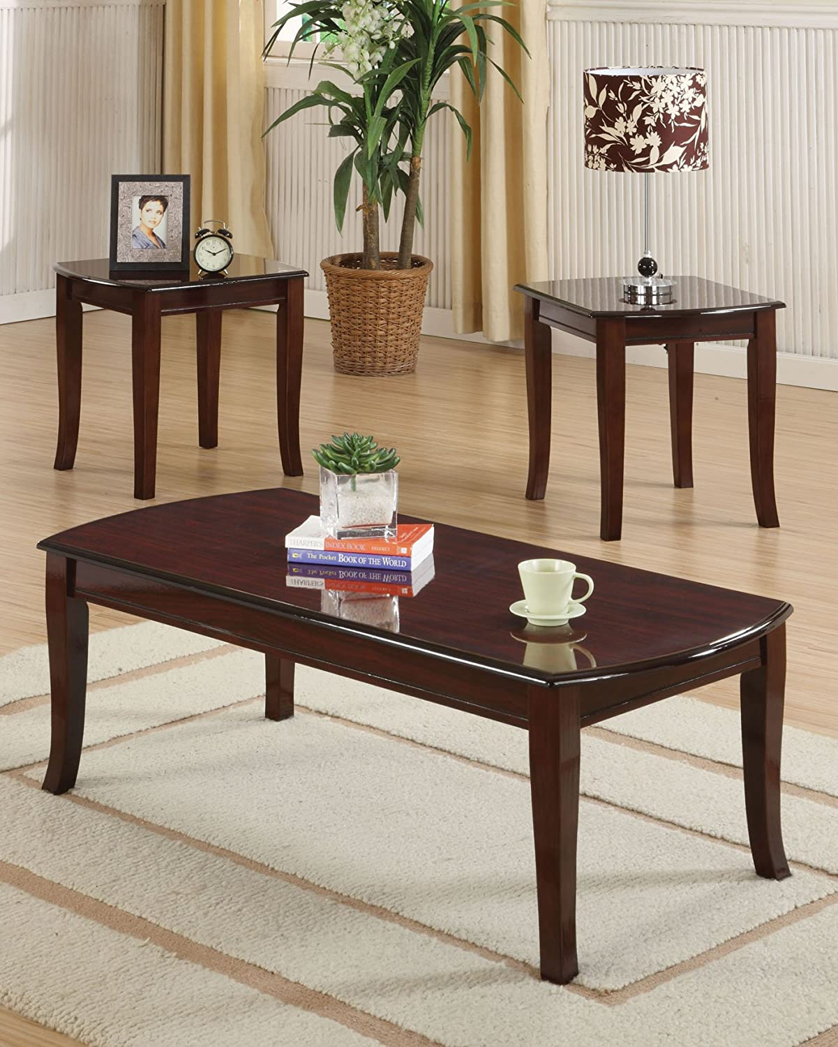 Amazon.com: ACME Camarillo Cherry Coffee End Table Set 3 Piece: Kitchen U0026  Dining