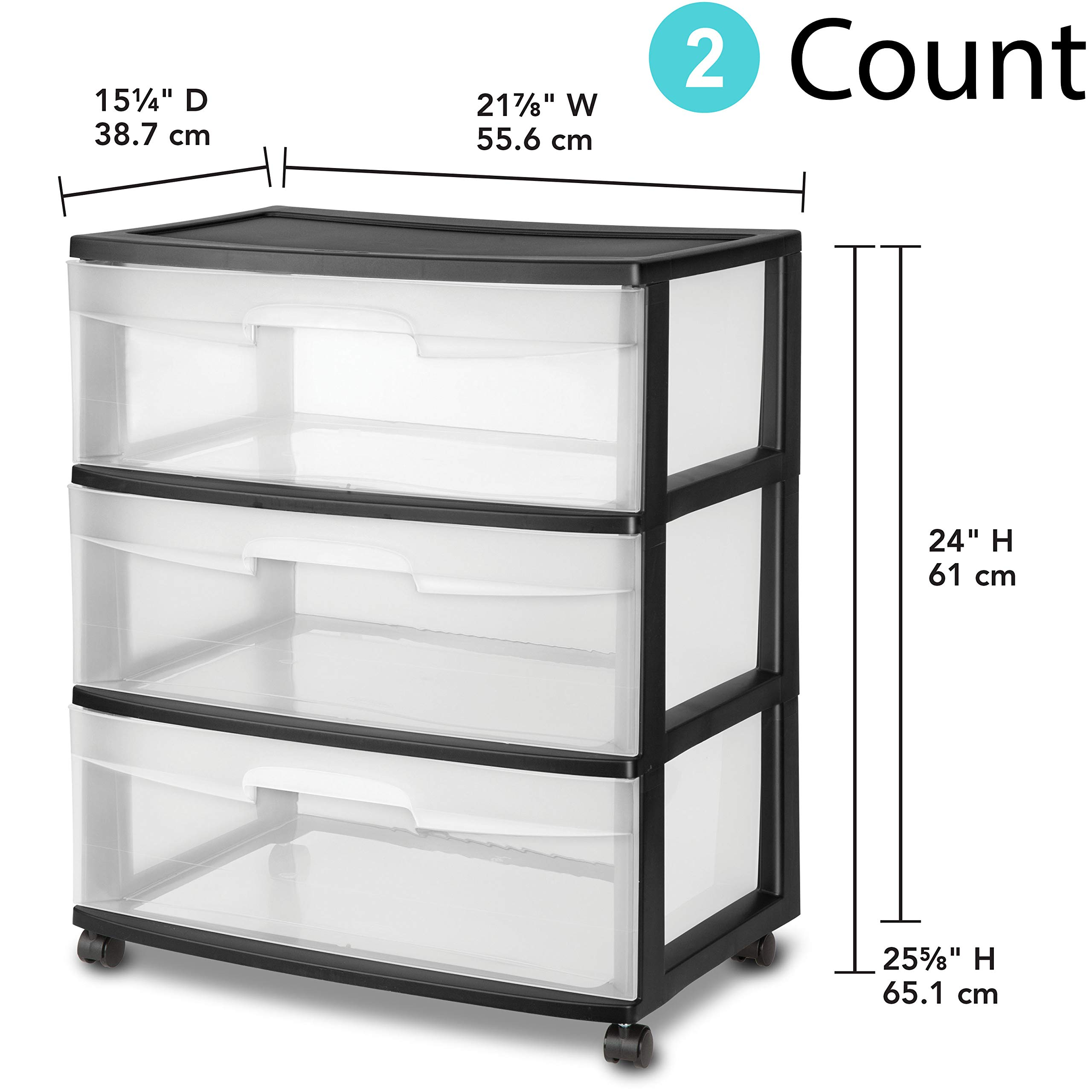 3 Drawer Wide Cart, White (2, Black)