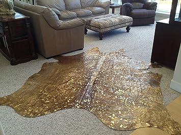 gallery of amazoncom devore cowhide rug gold metallic on chocolate kitchen with metallic gold rug