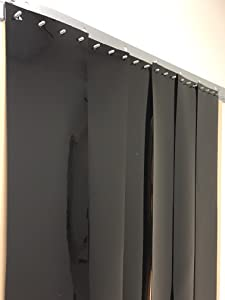 Strip-Curtains.com: Strip Door Curtain - 48 in. (4 ft) width X 96 in. (8 ft) height - Black Opaque smooth 8 in. strips with 50% overlap - common door kit (Hardware included)