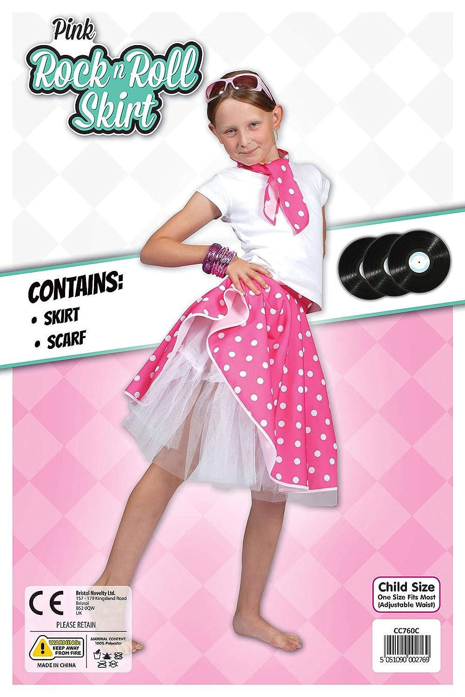 "Free Scarf CHILDREN/'S 12/"" POLKA DOT ROCK N ROLL Skirt 50s FANCY DRESS COSTUME"