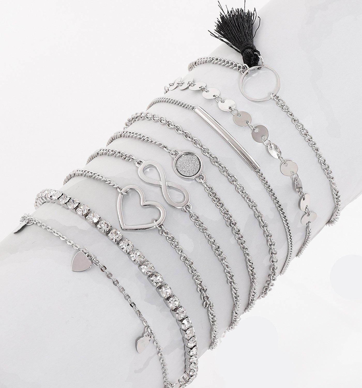 NVENF 9Pcs Ankle Jewelry Lady Girls Anklet Bracelets Adjustable Beach Anklet Foot Jewelry Set (Silver 9pcs) by NVENF (Image #2)