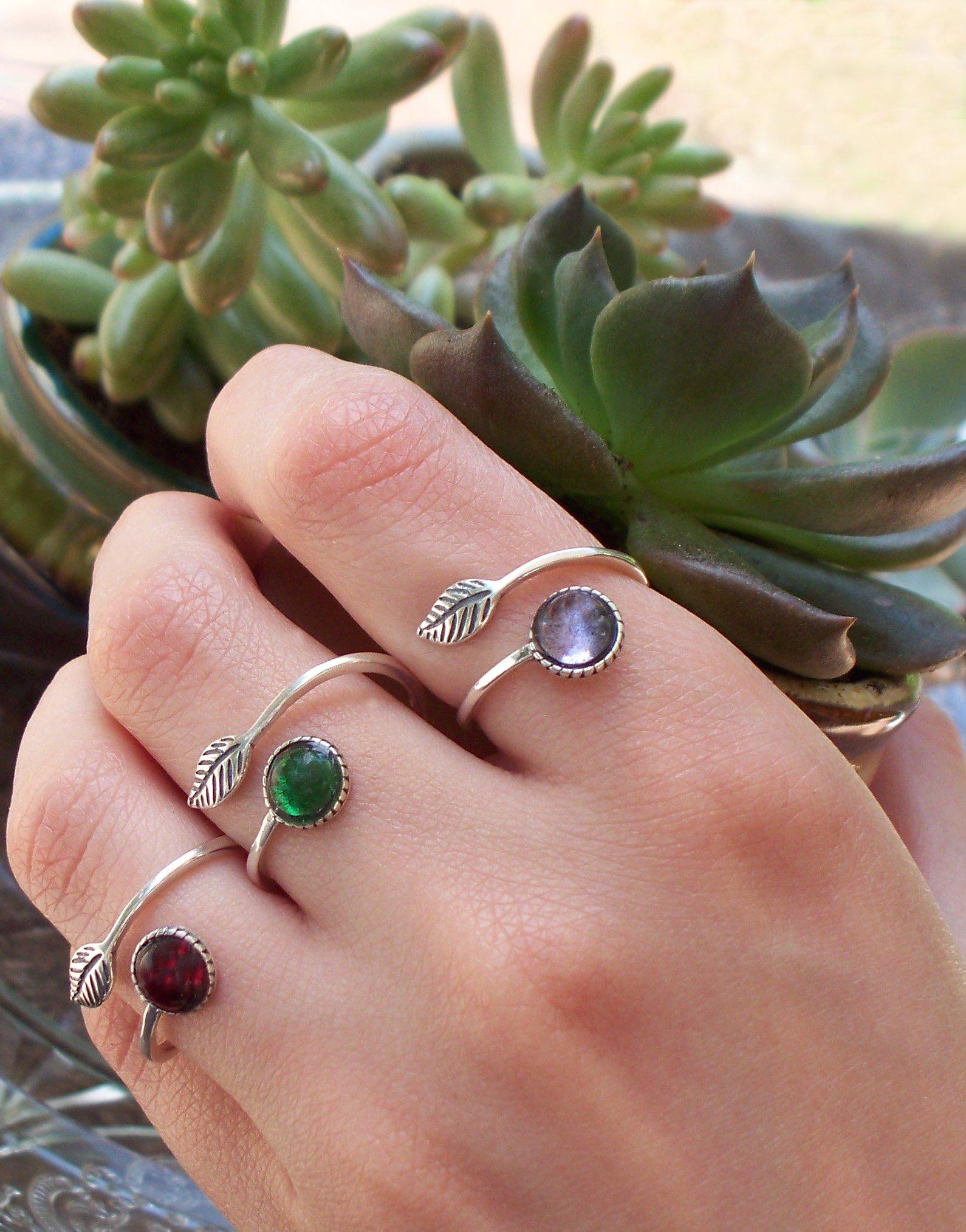 Recycled Vintage Cobalt 1960's Skin Cream Jar Sterling Silver Leaf Botanical Collection Ring