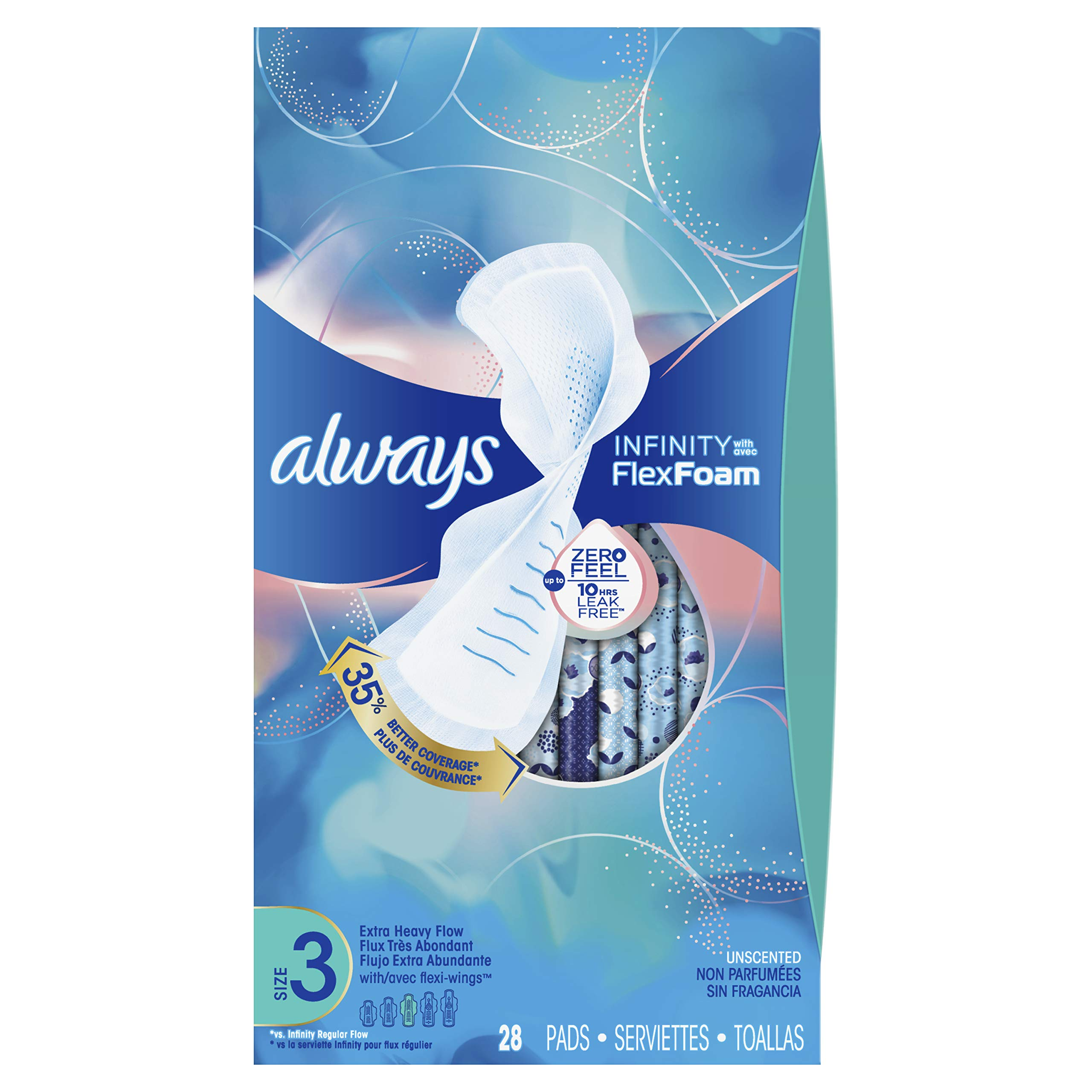 Always Infinity Feminine Pads for Women, Size 3, Extra Heavy Flow Absorbency, with Wings, Unscented, 28 Count - Pack of 3 (84 Count Total) by Always