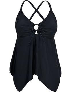 391c47c1f0e Hilor Women s Plus Size Swimwear Floral Tankini Set Drawtring Modest ...