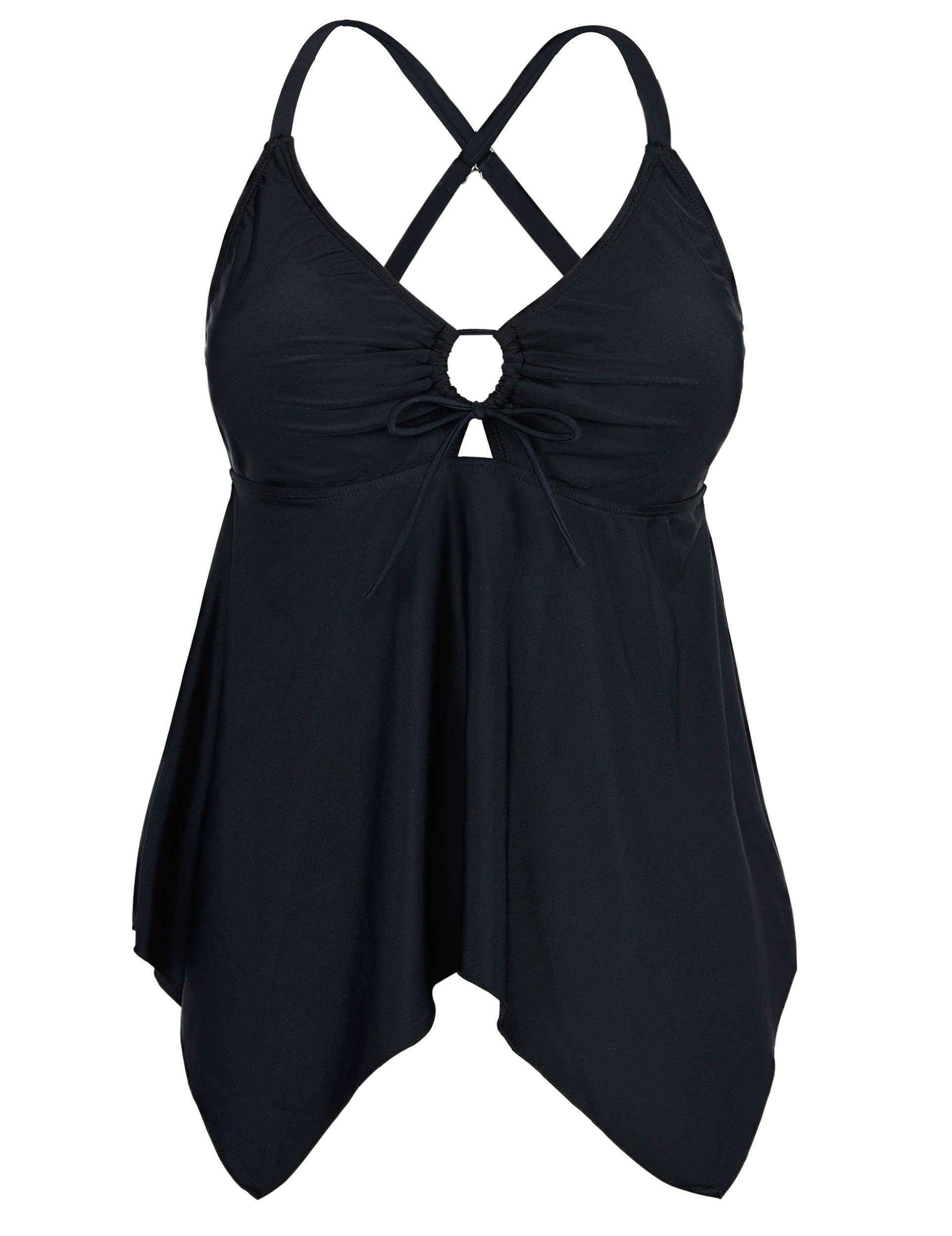 78e0766166 Firpearl Women s Black Flowy Swimsuit Crossback Plus Size Tankini Top  product image