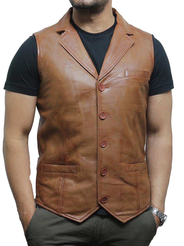 Brandslock Mens Genuine Leather Waistcoat Vintage
