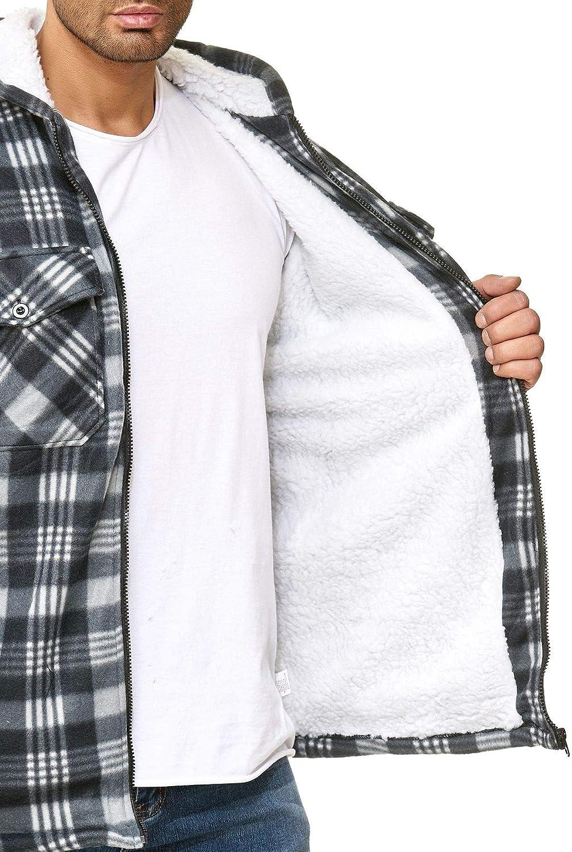 Mens Manches Longues /à Carreaux Chemise Thermal Shirt Veste Hiver Manteau Treillis Revers Chemise /épaisse Chaude Bouton Blousons Chemise de Travail Rembourr/ée B/ûcheron Matelass/é Veste