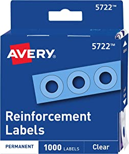 Avery Clear Self-Adhesive Reinforcement Labels, Round, Pack of 1000 (5722)