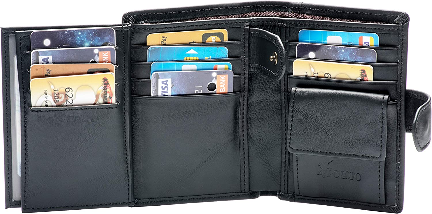 Large RFID Genuine Leather Card Holder Trifold Wallet Snap Closure 3 ID Windows for men Coffee