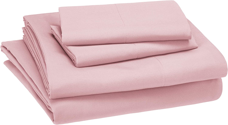 AmazonBasics Kid's Sheet Set - Soft, Easy-Wash Microfiber - Full, Light Pink