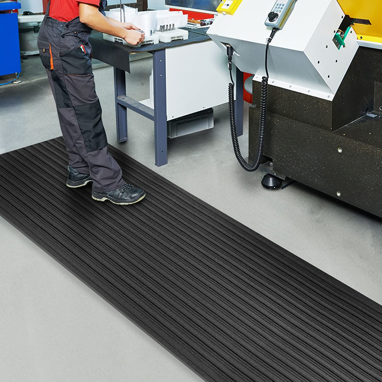 60x250 cm Arbeitsplatzmatte Warnstreifen Schwarz-Gelb Anti-Erm/üdungsmatte Softer-Work-Mat