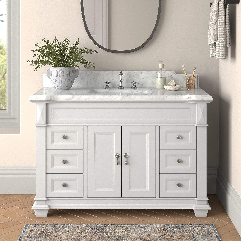 Amazon Com Elizabeth 48 Inch Bathroom Vanity Carrara White Includes White Cabinet With Authentic Italian Carrara Marble Countertop And White Ceramic Sink Home Improvement