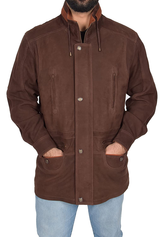 Mens Leather Parka Car Coat Classic Overcoat Mid Length Jacket Jason Brown Nubuck at Amazon Mens Clothing store: