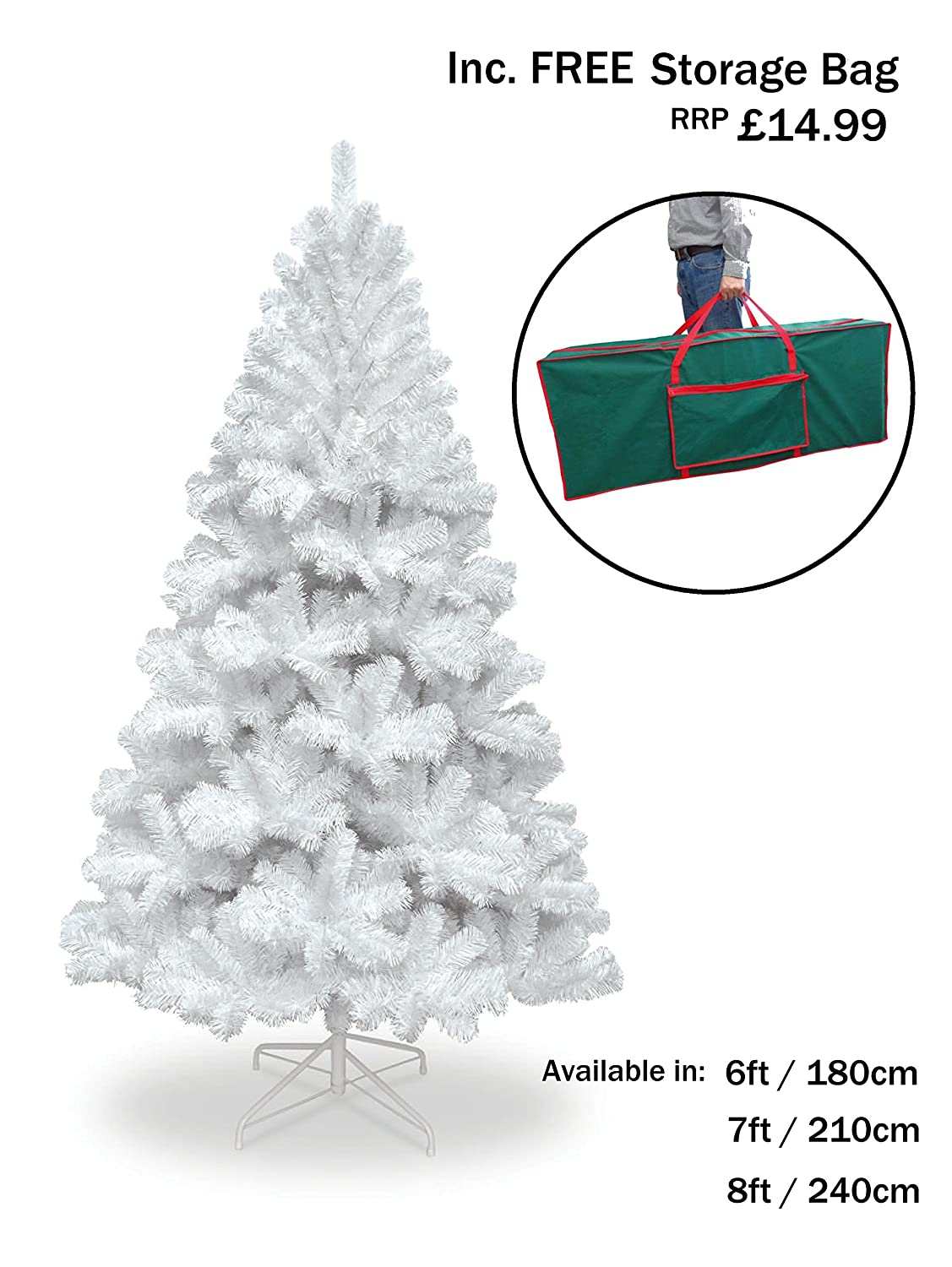 Snowtime 6FT COLORADO SPRUCE WHITE CHRISTMAS TREE WITH 483 TIPS INC FREE STORAGE BAG WORTH £14.99!! CT06362