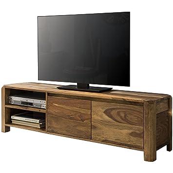 Wohnling Lowboard Massivholz Sheesham Kommode 140 Cm Tv Board Ablage