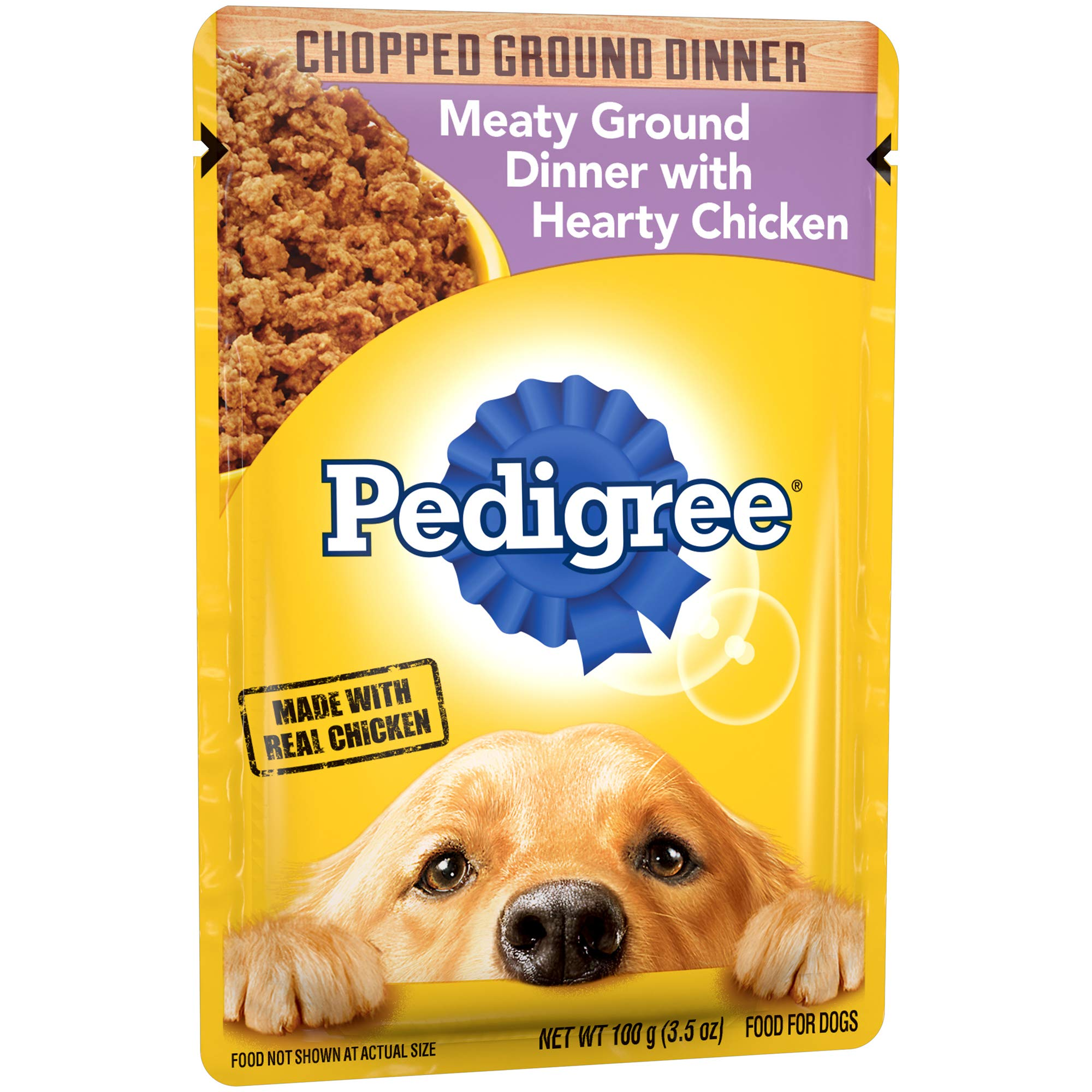 PEDIGREE Adult Wet Dog Food Chopped Meaty Ground Dinner with Hearty Chicken, (16) 3.5 oz. Pouches by Pedigree