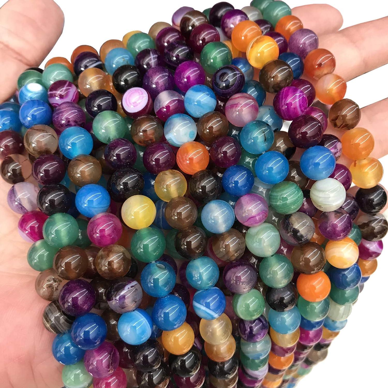 Naturwunder - Perlas de ágata de piedra preciosa, 8 mm, 6 mm, 4 mm, pulidas y mate, forma de bola para joyas, pulseras, cadenas, joyas, varios colores, piedra, Mezcla pulida., 4mm 25 Stück