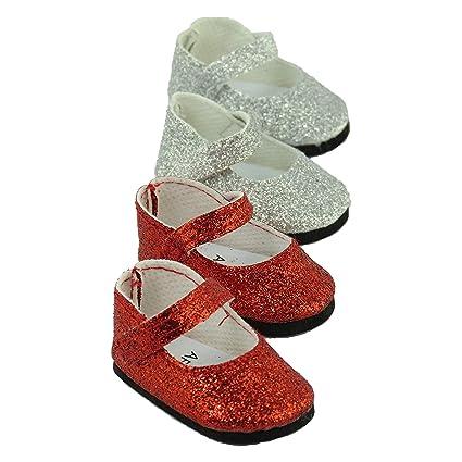 Amazon.com: Rojo y Plata con Purpurina Mary Jane Zapatos 2 ...