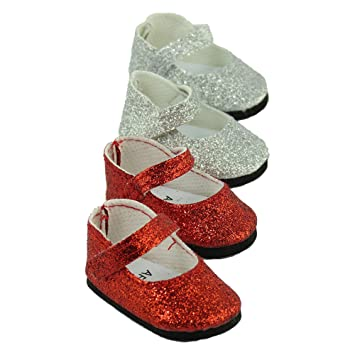 14.5 INCH DOLL Red Glitter Mary Janes