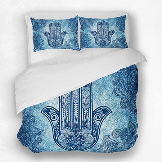 Hamsa Fatima Indian Queen Duvet Cover Bohemian Bedding Set Quilt Comforter Cover