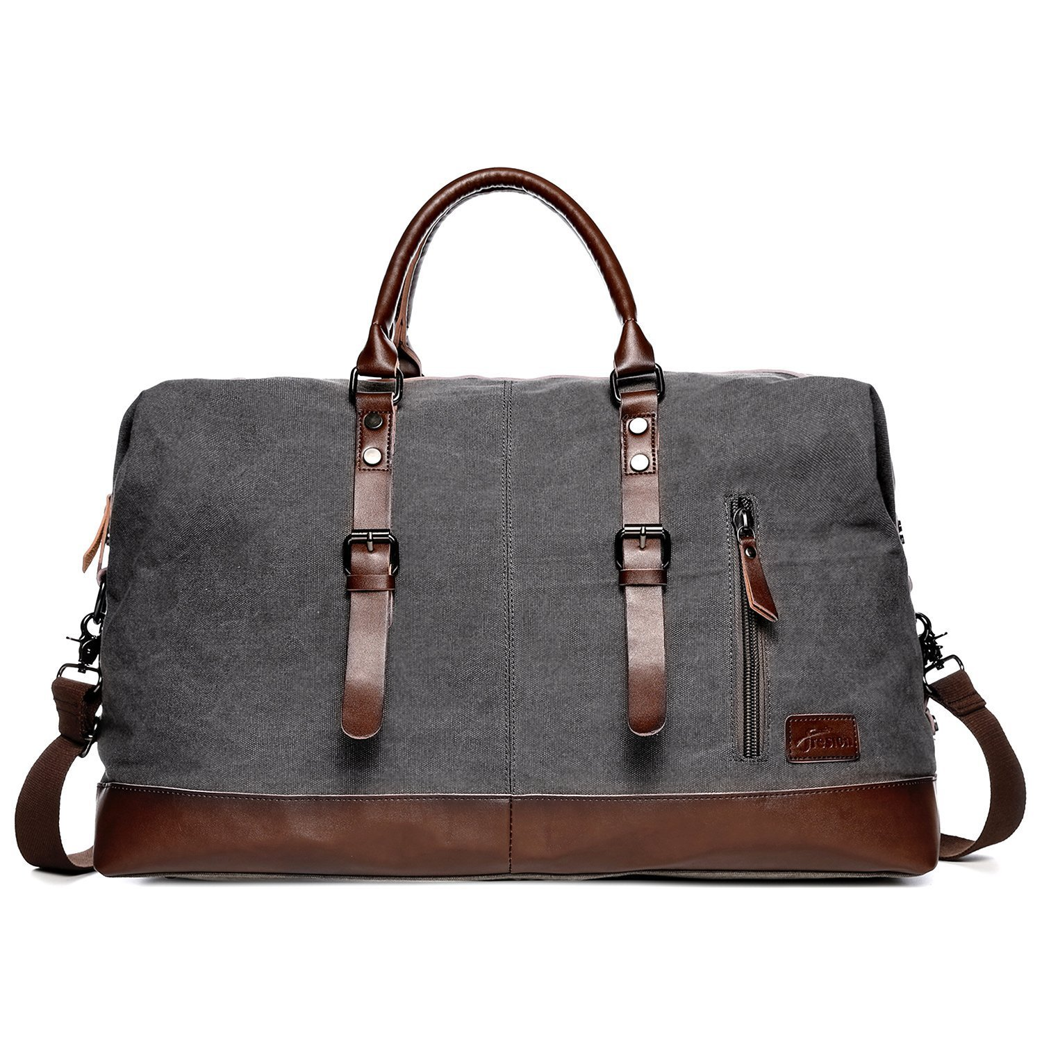 Sports Holdall Weekend Travel Duffel Bag,Fresion Portable Canvas Handbag Carry on Overnight Bags with Genuine Leather (Grey)