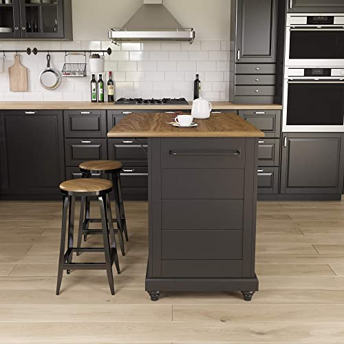 Dorel Living Kelsey 2, Black Rustic Oak Kitchen Island with Stools, Black