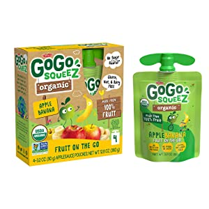 GoGo squeeZ Organic Applesauce, Apple Banana, 3.2 Ounce (48 Pouches), Gluten Free, Vegan Friendly, Unsweetened Applesauce, Recloseable, BPA Free Pouches