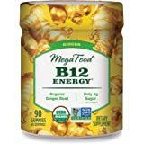 MegaFood, Certified Organic B12 Energy Ginger Gummies, Soft Chew Vitamin B12 Supplement for Cellular Energy Support, Gluten F