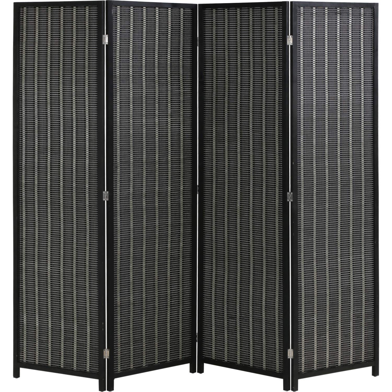 FDW Folding Privacy Screen 4 Panel 72 Inches High 17.7 Inches Wide Divider Living Room Bedroom Study, Black by FDW