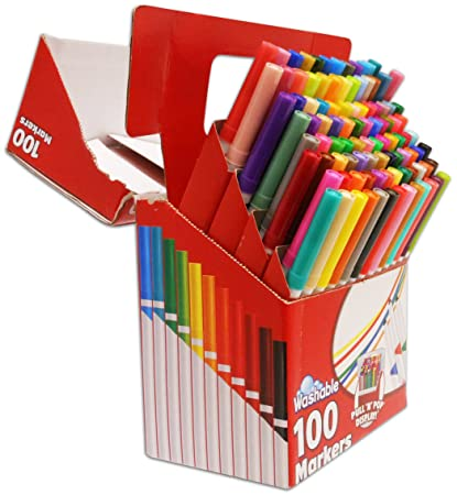 小小画家必需品!100只装RoseArt SuperTip 彩色可水洗马克笔