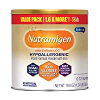 Enfamil Nutramigen Hypoallergenic Colic Baby Formula, Lactose Free Milk Powder, 19.8 Ounces - Omega 3 DHA, LGG Probiotics, Iron, Immune Support, (Packaging May Vary)