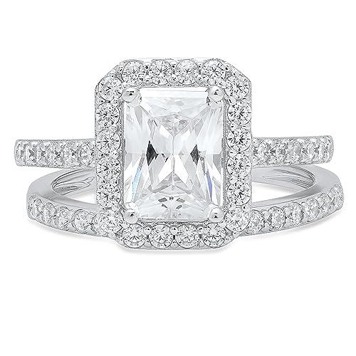 f40fa292f2d73 Amazon.com: Clara Pucci Emerald Cut Solitaire Pave Halo Bridal ...