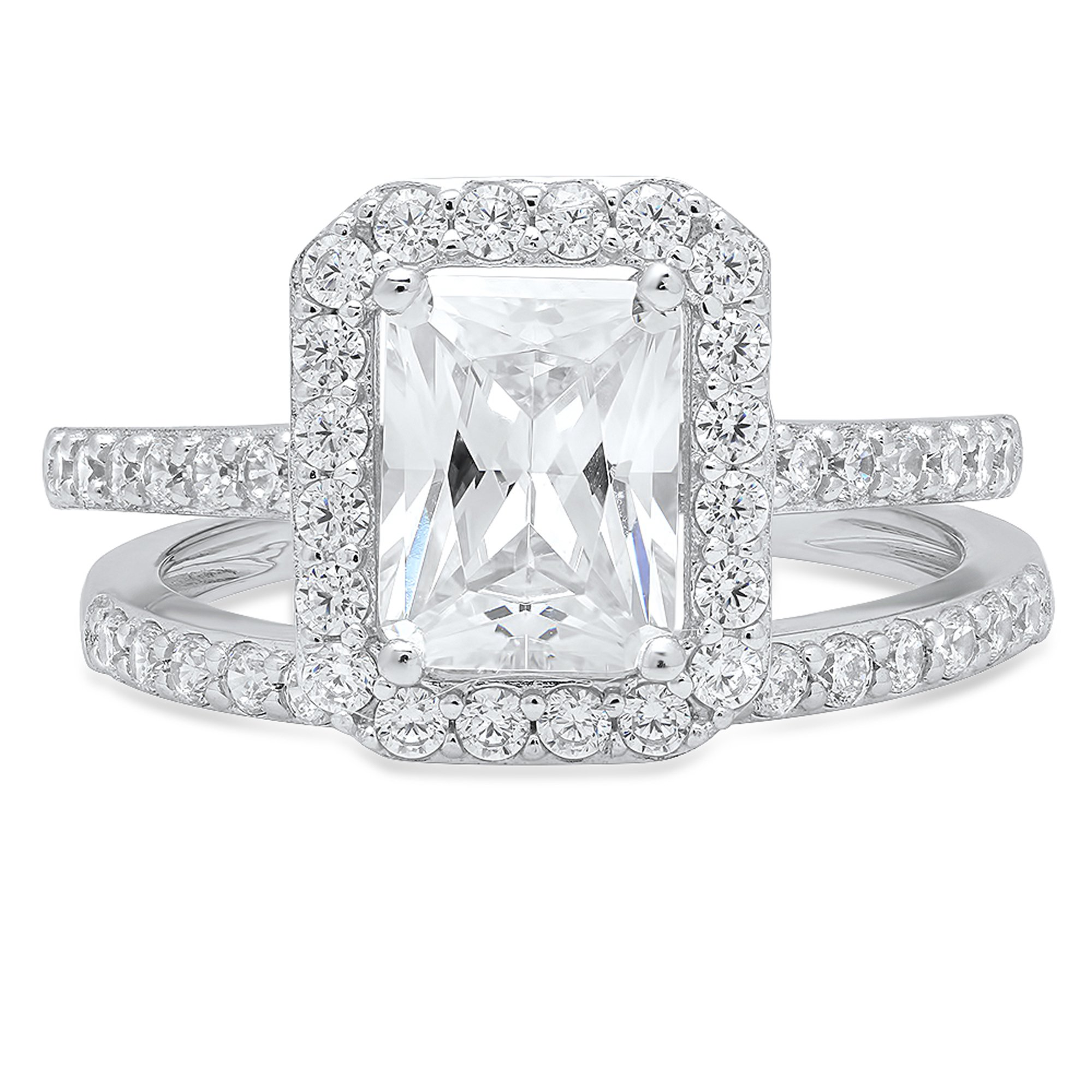Clara Pucci Emerald Cut Solitaire Pave Halo Bridal Engagement Wedding Promise Ring band set 14k White Gold, 2.05CT, Size 6.5