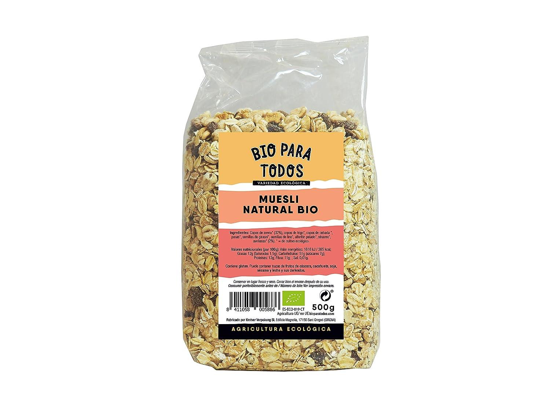 Bio para todos Muesli Natural Bio - 6 Paquetes de 500 gr - Total: 3000 gr: Amazon.es: Alimentación y bebidas