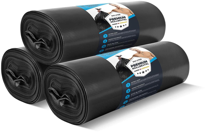 Sacchi per la Spazzatura Premium per Uso Domestico e Industriale ELES VIDA Sacchi per la Spazzatura da 240 Litri 5 Pieces Rotolo da 70 /μ