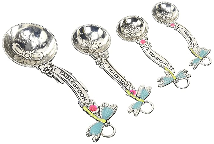 Ganz ER21716 4-Piece Set, Dragonflies Measuring Spoon, One Size, silver