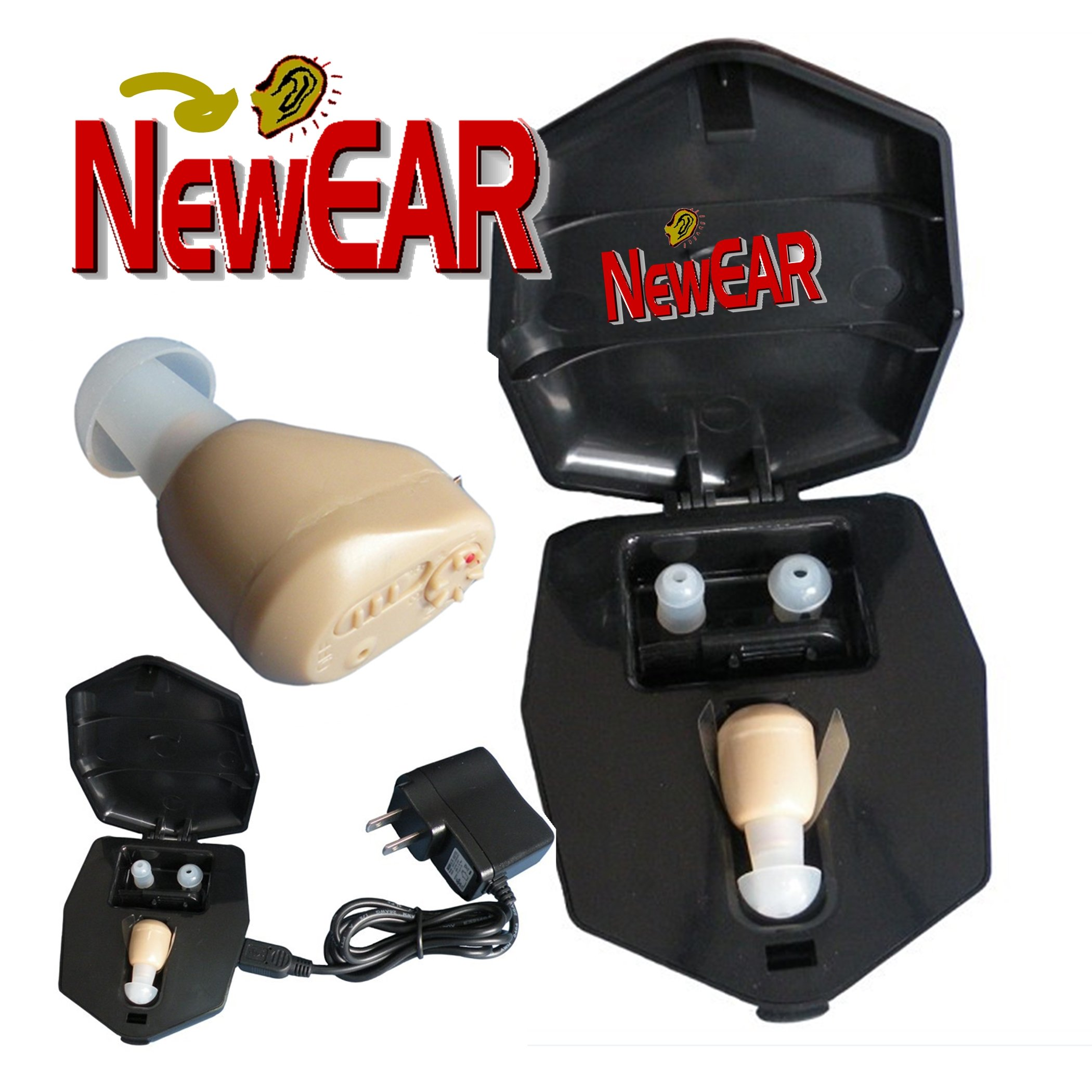 NewEar ITE Mini Ear Amplifier Rechargeable Microtron - So Small It's Barely Visible!