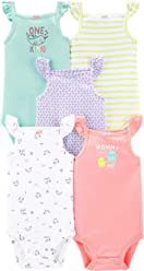Carters Baby Girls 5 Pack Bodysuits (Baby), Kitty Love