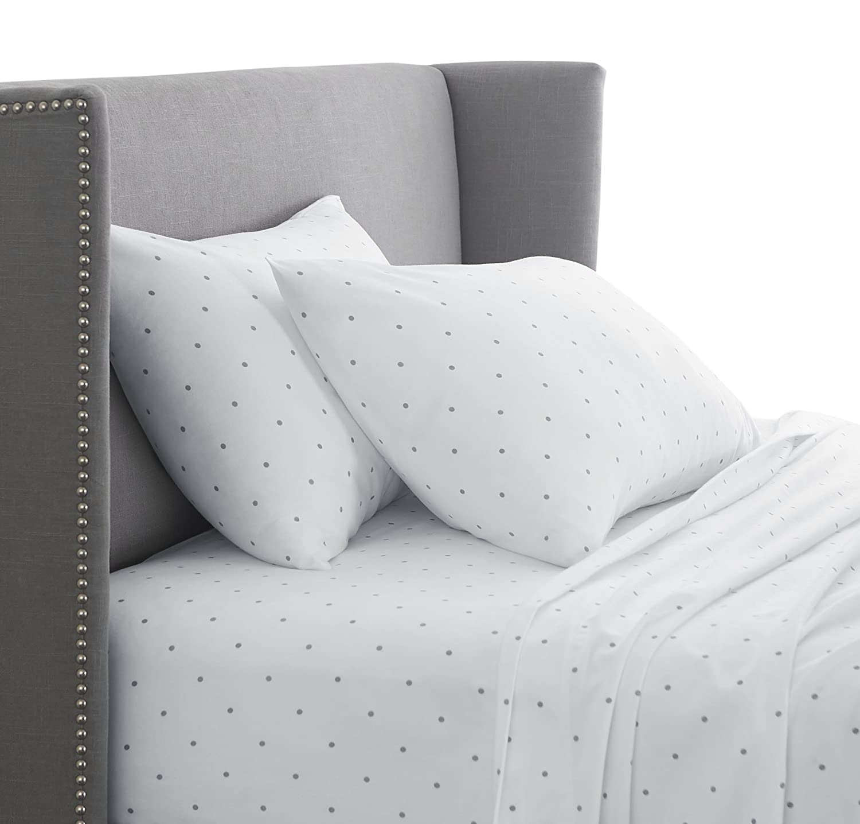 Pinzon 170 Gram Flannel Cotton Bed Sheet Set, California King, Grey Dot