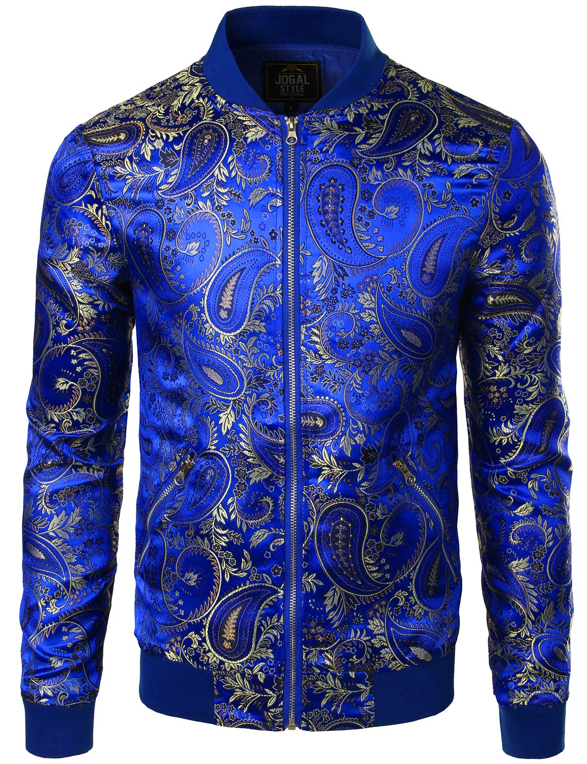 JOGAL Men's Luxury Paisley Embroidered Satin Bomber Jacket Coat Medium RoyalBlue by JOGAL