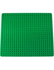 "Classic Baseplate for Large Building Bricks by Strictly Briks | 100% Compatible with All Major Brands | Large Pegs for Toddlers | Single Large Size Tight Fit Base Plate in Green (16.25"" x 13.75"")"