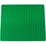 "Fully Compatible Brick Baseplate by Strictly Briks | Large Peg Base Plate for Building Blocks, Towers, Buildings, and More! | 1 Large Size Tight Fit Base Plate (16.25"" x 13.75"") in Green"