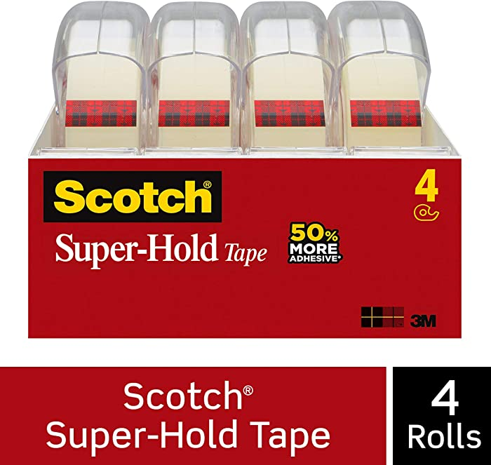Scotch Brand Super-Hold Tape, Strong and Durable, Glossy Finish, Engineered for Sealing, 3/4 x 650 inches, 4 Dispensered Rolls (4198)