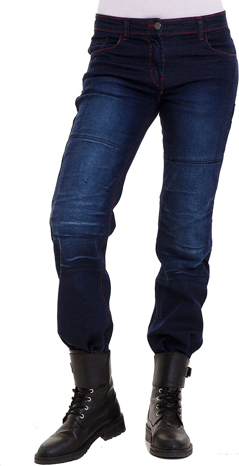 Qaswa Mens Denim Motorcycle Jeans Motorbike Armour Cargo Jeans Trousers with Reinforced Aramid Protection Lining