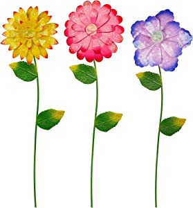 Juegoal 3 Pack Flower Garden Stakes Decor, Shaking Head Metal Outdoor Sunflowers Daisy Glow in Dark Metal Yard Art, Waterproof Metal Flower Stick, Indoor Outdoor Lawn Pathway Patio Ornaments