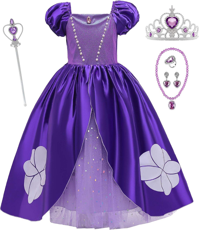 O.AMBW Vestido de Niña Sofia Tonos violetas Disfraz Nina Princesa Accesorios Set Completo Collar Anillo Pendiente Varita Mágica Princesa Corona Cosplay Fiesta de Carnaval Halloween Cumpleaños