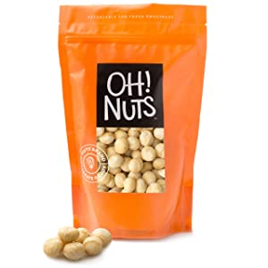 Oh! Nuts Jumbo Raw Hawaiian Macadamia Nuts   Unsalted, & Gluten-Free   All-Natural, Additive-Free Healthy Snack   Large-Sized, No Oil Keto Snacks in Resealable 1-Pound Bag for Extra Freshness